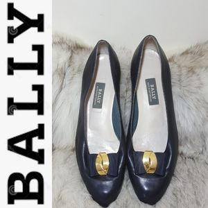 Bally Navy Blue Flats w/ Gold-Anchored Bows sz. 9